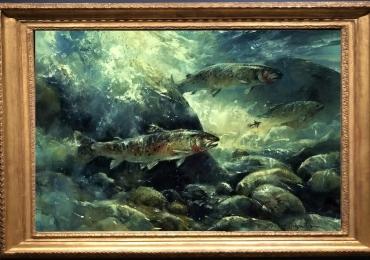 Tablou cu pesti in apa, tablou cu animale salbatice, tablouri cu animale pictate, tablou
