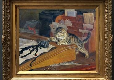 Tablou cu pisica pe biroul stapanului, tablou cu animale salbatice, tablouri cu animal