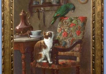 Tablou cu pisica si papagal, tablou cu animale salbatice, tablouri cu animale pictate, t