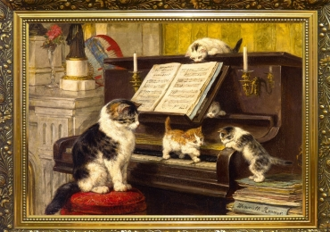 Tablou cu pisica si pui de pisica pe claviatura pianului, tablou cu animale salbatice, ta