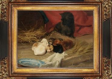 Tablou cu pisica si puii ei, tablou cu animale salbatice, tablouri cu animale pictate, ta