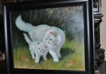 Tablou cu pisici albe, tablou cu animale salbatice, tablouri cu animale pictate, tablour