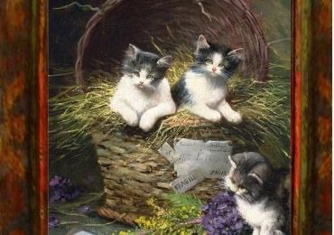 Tablou cu pisici in cos din nuiele impletite, tablou cu animale salbatice, tablouri cu a