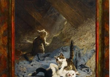 Tablou cu  pisici in podul casei, tablou cu animale salbatice, tablouri cu animale picta