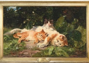 Tablou cu pisici intr-un peisaj de vara, tablou cu animale salbatice, tablouri cu anima