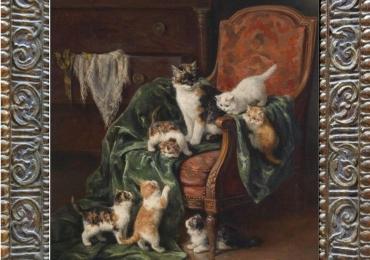Tablou cu  pisici jucandu-se pe fotoliul stapanului, , tablou cu animale salbatice, tabl