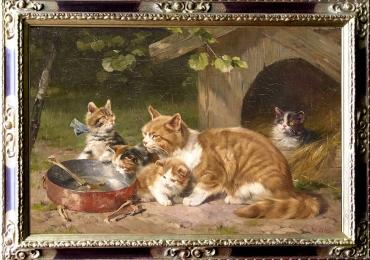 Tablou cu  pisici la masa, tablou cu animale salbatice, tablouri cu animale pictate, tab