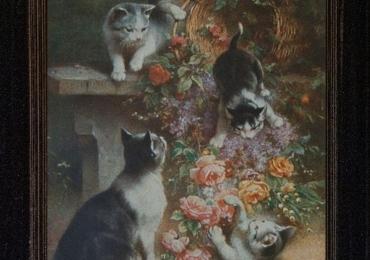 Tablou cu pisici si cos de flori, tablou cu animale salbatice, tablouri cu animale pictat