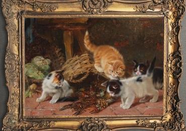 Tablou cu  pisici si raci, tablou cu animale salbatice, tablouri cu animale pictate, tablo