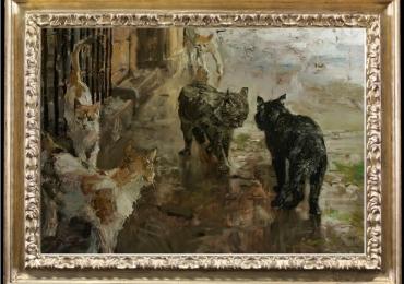 Tablou cu  pisici. Tablou cu animale salbatice, tablouri cu animale pictate, tablouri cu