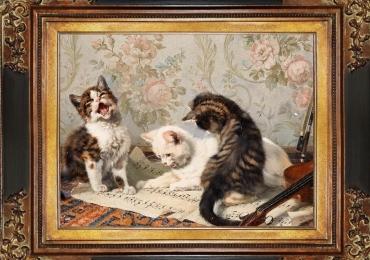 Tablou cu pisoi si partitura, tablou cu animale salbatice, tablouri cu animale pictate, t