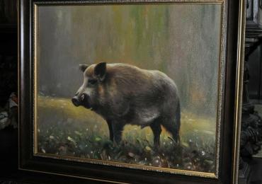 Tablou cu porc mistret in padure, tablou cu animale salbatice, tablouri cu animale pic