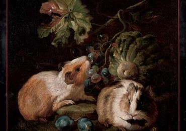 Tablou cu porci de Guineea si fructe, Tablou natura moarta cu animale tablou cu anim
