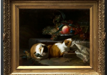 Tablou cu porci de guineea, tablou natura moarta cu fructe, tablou cu animale salbati