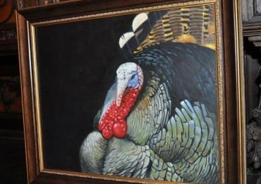Tablou cu portret de curcan cu margele rosii, tablou cu pasare domestica, tablou cu a