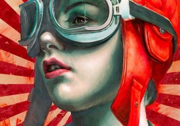 Tablou cu portret de femeie, portret abstract multicolor. Portrete pictate manual