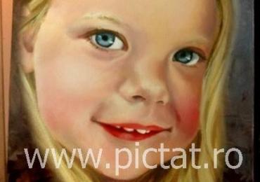 Tablou cu portret la comanda pictat manual in ulei pe panza. Portrete cu copii.