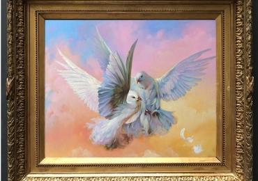 Tablou cu porumbei, tablou cu animale salbatice, tablouri cu animale pictate, tablouri