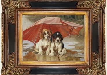 Tablou cu pui de catei de vanatoare, tablou cu animale salbatice, tablouri cu animale
