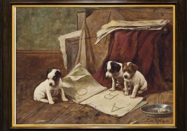 Tablou cu pui de catei, tablou cu animale salbatice, tablouri cu animale pictate, tablo