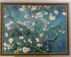 Tablou cu ramuri de ciresi inflorite, natura moarta, tablou pictat manual in ulei pe panz