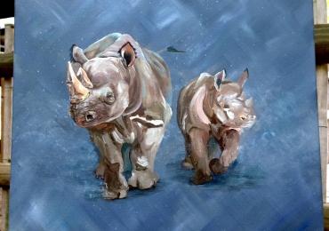 Tablou cu rinoceri, tablou cu animale salbatice, tablouri cu animale pictate, tablouri c