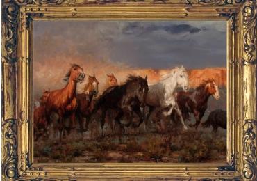 Tablou cu sapte cai alergand la rasarit, tablou cu animale salbatice, tablouri cu anima