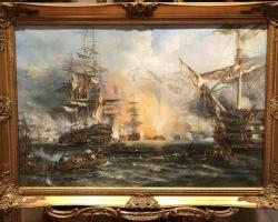 Tablou cu scena de lupta, tablou cu vapoare, tablou cu flota in lupta tablou cu peisaj marin, tablou cu peisaj de vara