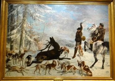Tablou cu scena de vanatoare de cerbi, tablou cu animale salbatice, tablouri cu anima