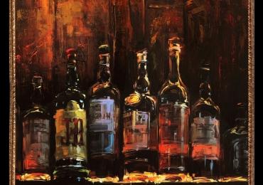 Tablou cu sticle de wisky, , Tablou cu tema abstracta, tablou inmpresionist, tablou sufragerie, tablou dimensiune mare, tablou pentru bar
