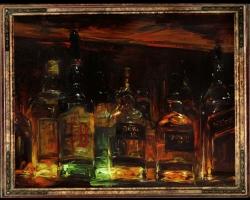 Tablou cu sticle in bar, tablou cu sticle de wisky, Tablou cu tema abstracta, tablou inmpresionist, tablou sufragerie, tablou dimensiune mare, tablou pentru bar