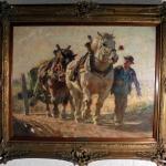 Tablou cu taran la camp, tablou cu cai care trag caruta, tablou cu peisaj de toamna, tablouri living, picturi in ulei pe panza, picturi cu peisaje