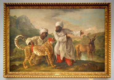 Tablou cu tigrii si indieni, Cheetah and Stag with Two Indians, George Stubbs tablou