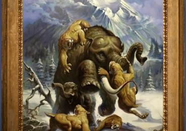 Tablou cu tigrii si mamut, tablou cu animale salbatice, tablouri cu animale pictate, ta