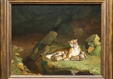 Tablou cu tigroaica si puiul ei, Tablou cu animale salbatice, tablou cu animale exotic