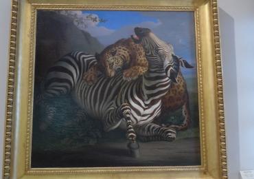 Tablou cu tigru si zebra, tablou cu animale salbatice, tablouri cu animale pictate, tabl