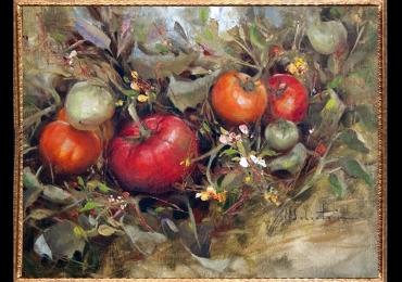 Tablou cu tomate, tablou cu legume, Tablou cu tema abstracta, tablou inmpresionist, tablou sufragerie, tablou dimensiune mare, tablou cu  rosii
