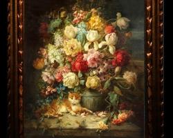 Tablou cu trandafiri colorati, tablou cu buchet de flori, tablouri cu aranjamente florale, picturi florale