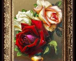Tablou cu trandafiri in pahar, tablou cu buchet de flori, tablouri cu aranjamente florale, picturi florale