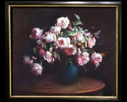 Tablou cu trandafiri roz in vaza albastra, tablou cu buchet de flori, tablouri cu aranjamente florale, picturi florale