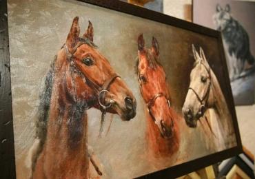 Tablou cu trei cai abstracti,  tablou cu animale salbatice, tablouri cu animale pictate, t