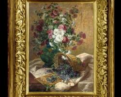 Tablou cu tufanica, Tablou pictat cu buchet de flori asezat pe masa, Tablou floral, aranjamente  florale pentru ocazii deosebite