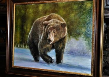 Tablou cu urs Grizzly, tablou cu animale salbatice, tablouri cu animale pictate, tablou