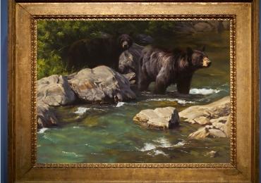 Tablou cu urs traversand un parau, tablou cu animale salbatice, tablouri cu animale pi