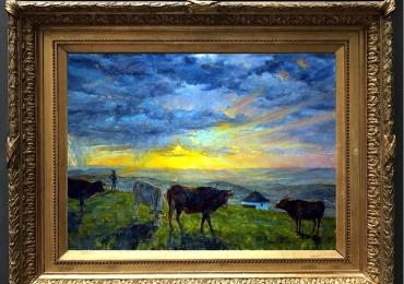 Tablou cu vaci, tablou cu peisaj apus de soare, tablou cu animale salbatice, tablouri c