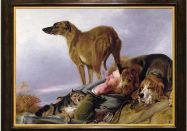 Tablou cu vanator si cainii lui de vanatoare, tablou cu animale salbatice, tablouri cu a