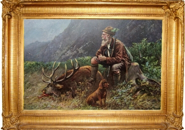Tablou cu vanator si cerb, tablou cu animale salbatice, tablouri cu animale pictate, ta
