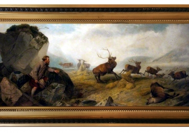 Tablou cu vanator si cerbi, tablou cu animale salbatice, tablouri cu animale pictate, ta