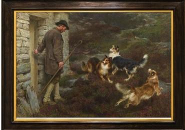 Tablou cu vanator, tablou cu caini de vanatoare, tablou cu animale salbatice, tablouri