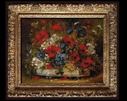 Tablou cu vas ceramic plin cu flori, tablou cu buchet de flori, tablouri cu aranjamente florale, picturi florale